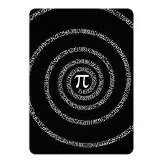 Espiral para o Pi no preto contínuo Convite 12.7 X 17.78cm