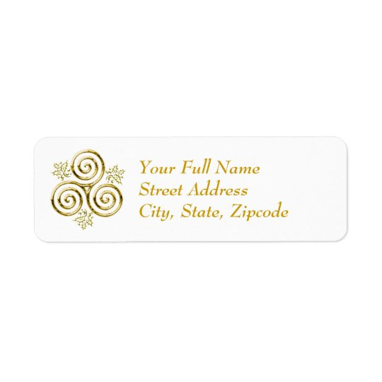 Espiral tripla do ouro & folhas do azevinho - etiqueta endereço de retorno