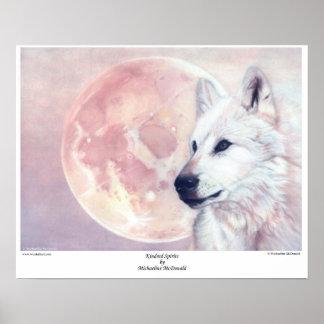 Espírito de Kindred lobo e poster da lua