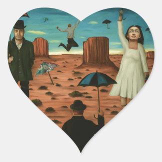 espírito dos guarda-chuvas do vôo adesivo coração