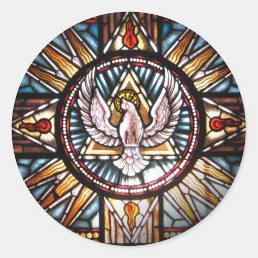 Espírito Santo vitral Adesivos Redondos