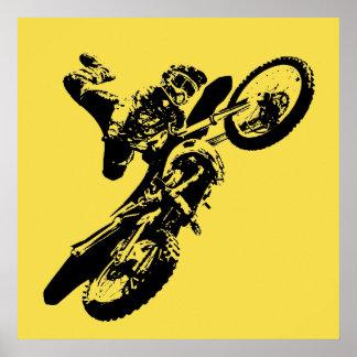 Esporte amarelo de Motorcyle do motocross do pop Pôster