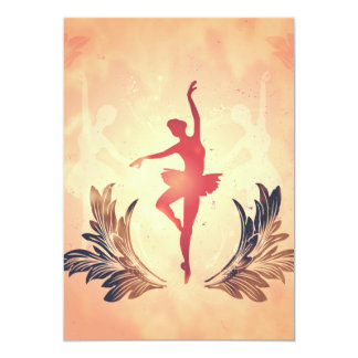 Esporte, dançarino de balé da silhueta convite 12.7 x 17.78cm