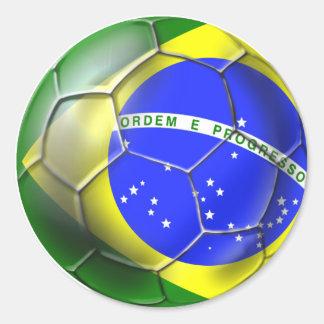 Esportes 2014 brasileiros da bandeira do futebol adesivos redondos
