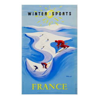 Esportes de inverno do poster de viagens de