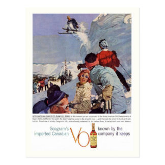 Esportes de inverno do vintage, a propaganda de Se Cartao Postal