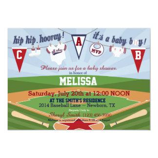 Esportes do basebol - chá de fraldas temático convite 12.7 x 17.78cm