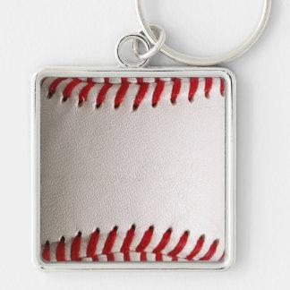 Esportes do basebol chaveiro quadrado na cor prata