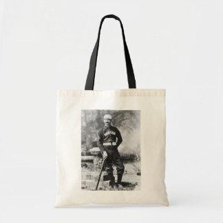 Esportes do vintage, jogador de beisebol de Boston Sacola Tote Budget