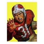 Esportes do vintage, jogador de futebol cartoes postais