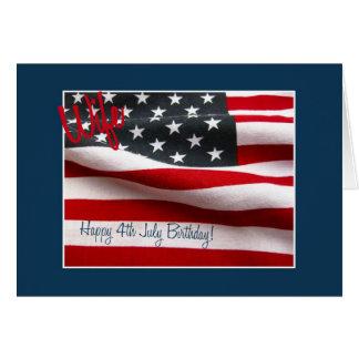 Esposa aniversário feliz do 4 de julho cartão comemorativo