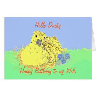 Esposa bonito do cartão de aniversário do patinho