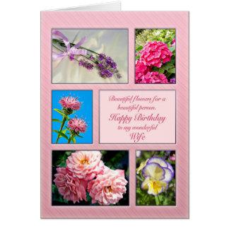 Esposa, cartão de aniversário bonito das flores