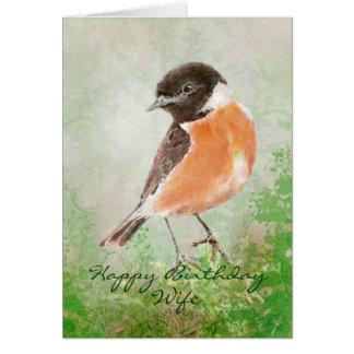 Esposa do feliz aniversario do pássaro de Stonecha Cartão Comemorativo