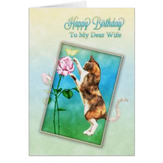 Esposa, feliz aniversario com um gato brincalhão cartoes
