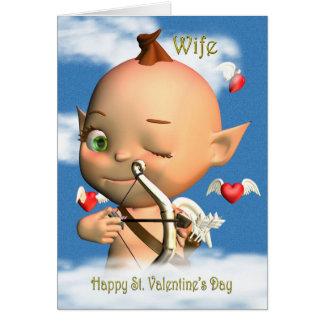 Esposa feliz do Cupido do dia dos namorados do St. Cartões