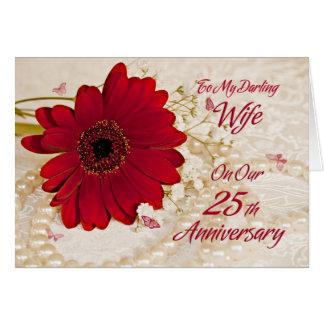 Esposa no 25o aniversário de casamento, uma flor cartão comemorativo
