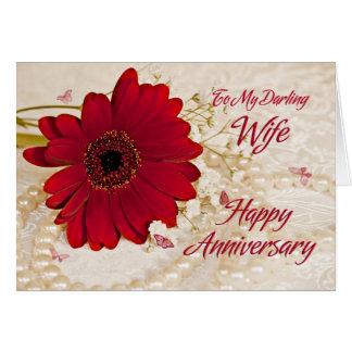 Esposa no aniversário de casamento, uma flor da cartão comemorativo