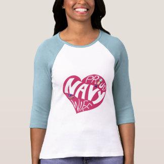 Esposa orgulhosa do marinho - marrom 3/4 de luva t-shirt