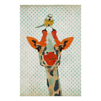 Espreitando o girafa & o poster pequeno da arte do