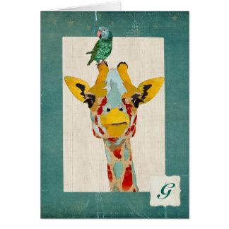 Espreitando o monograma Notecard do papagaio do Cartão De Nota