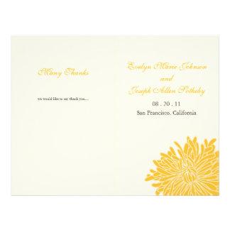 Espreitando o programa do casamento do crisântemo panfletos personalizados