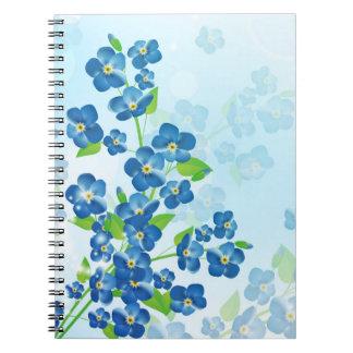Esqueça-me não caderno das flores