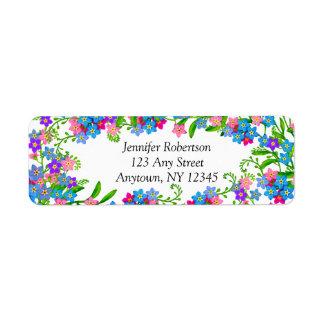Esqueça-me não etiquetas de endereço das flores do etiqueta endereço de retorno