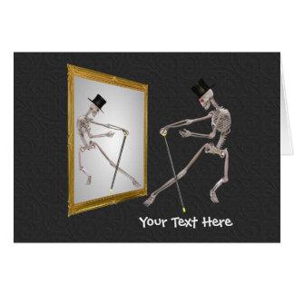 Esqueleto da dança no cartão com fotos engraçado
