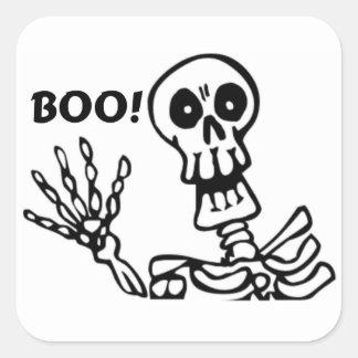 Esqueleto de ondulação do Dia das Bruxas Adesivo Quadrado
