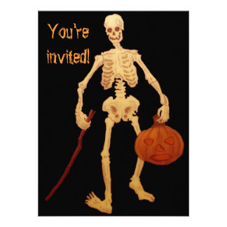 Esqueleto do vintage que guardara uma vara e uma a convites personalizado