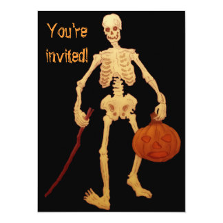 Esqueleto do vintage que guardara uma vara e uma convites personalizado