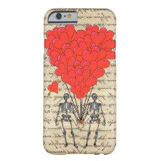 Esqueleto engraçado do vintage e coração vermelho capa barely there para iPhone 6