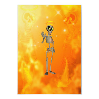 Esqueleto engraçado, legal com nimbus convite 12.7 x 17.78cm