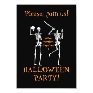 Esqueletos do Dia das Bruxas engraçado - junte-se Convite 12.7 X 17.78cm