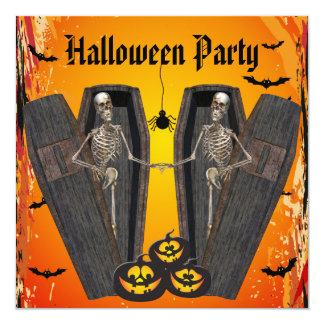 Esqueletos felizes no partido do Dia das Bruxas Convite Quadrado 13.35 X 13.35cm