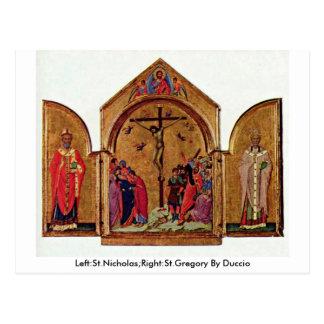 Esquerda: São Nicolau; Direito: St Gregory por Cartão Postal