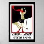 Esqui de Croix do santo do vintage do poster de vi