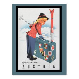 Esqui do vintage no cartão de Áustria