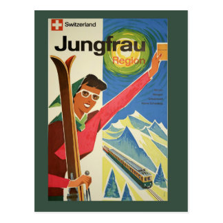 Esqui do vintage no cartão do viagem da suiça