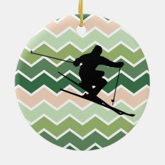 Esquiador Ornamento De Cerâmica