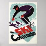 Esquiador preto e roxo vestido poster