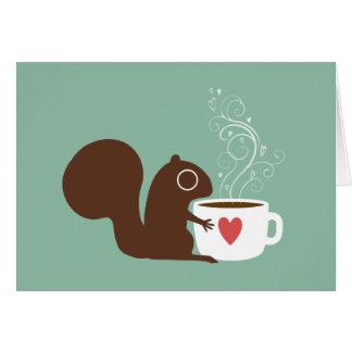 Esquilo com namorados do café cartão