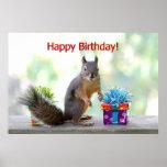 Esquilo do feliz aniversario impressão