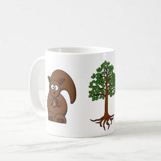 esquilo e caneca da árvore
