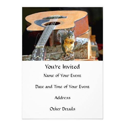 Esquilo e guitarra convite personalizado