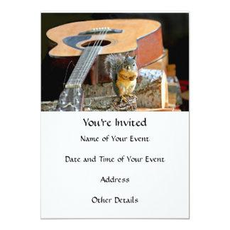 Esquilo e guitarra convite 12.7 x 17.78cm