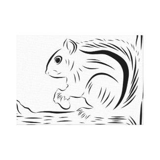 Esquilo pequeno no impressão das canvas da árvore