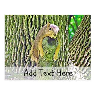 Esquilo preguiçoso bonito que relaxa em um cartão