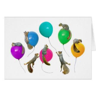 Esquilos no cartão dos balões